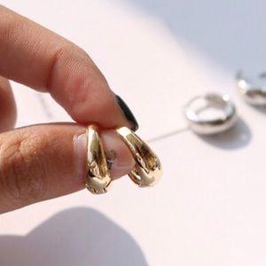 Gold Thick Huggie Hoop Earrings